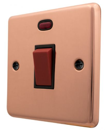 G&H CBC46B Standard Plate Bright Copper 45 Amp DP Cooker Switch & Neon Single Plate